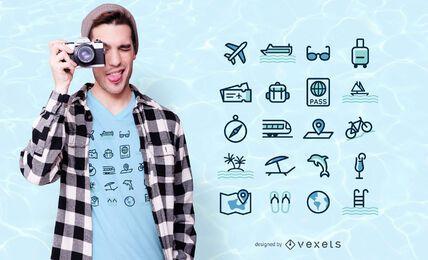 Design de t-shirt de ícones de viagens