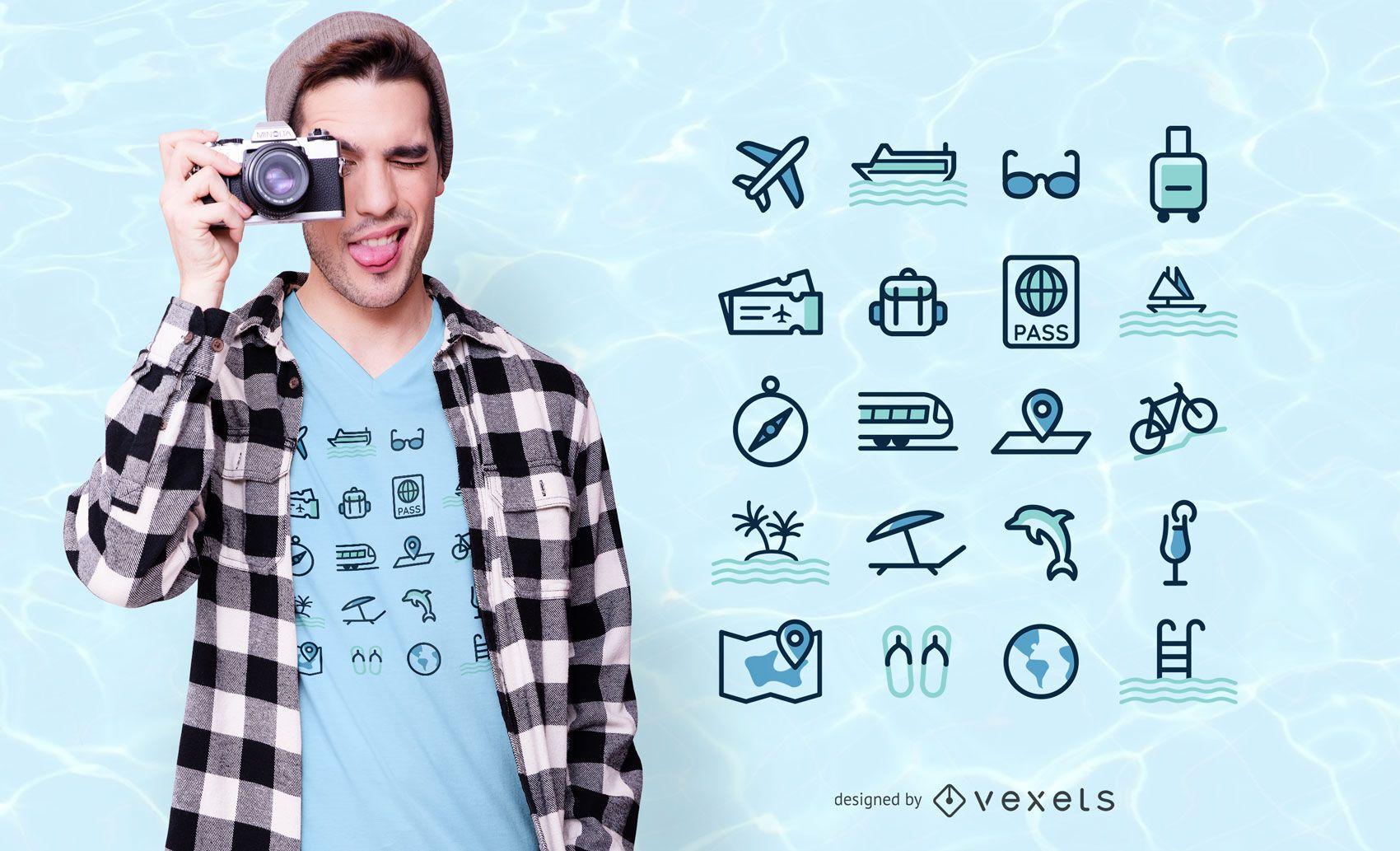 Diseño de camiseta de iconos de viaje