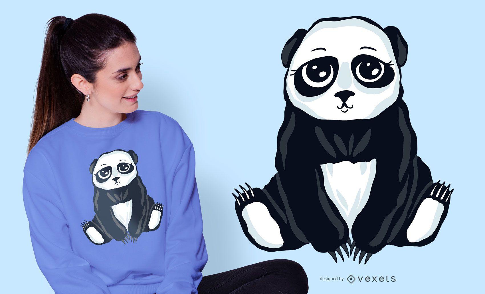 Design de camiseta de urso panda fofo