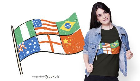 Diseño de camiseta con múltiples banderas