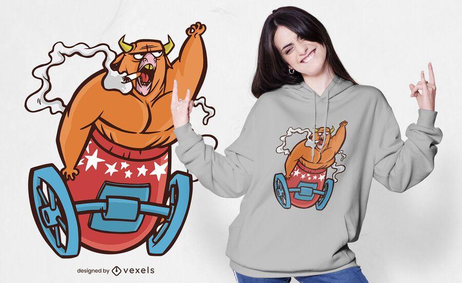 Diseño de camiseta de bull cannon