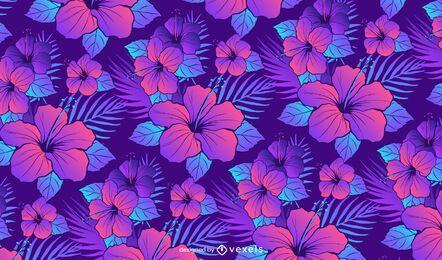 Diseño de patrón de flores de hibisco