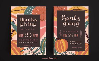 Conjunto de cartaz de festa de ação de graças