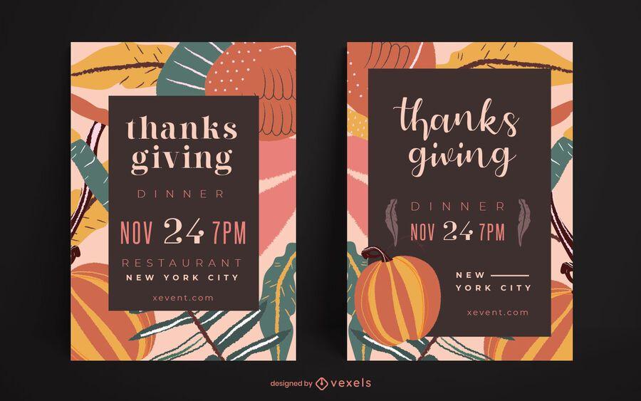 Conjunto de carteles de fiesta de acción de gracias