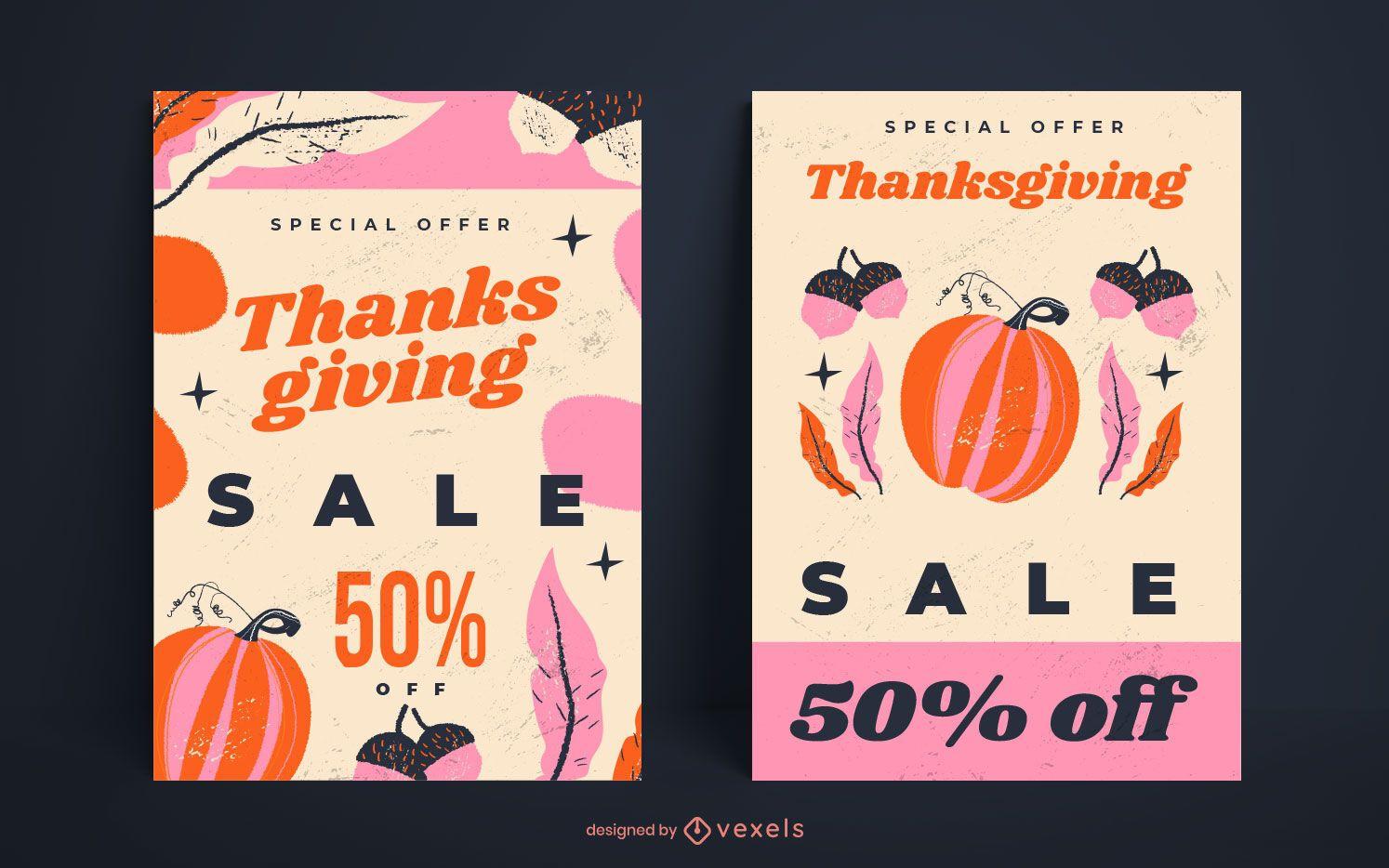 Paquete de carteles de venta de acción de gracias