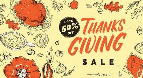 Design deslizante de promoção de Ação de Graças