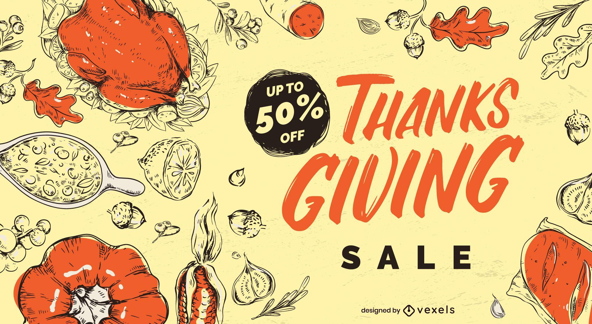 Diseño de control deslizante de venta de acción de gracias