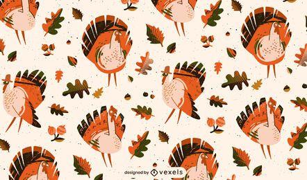 Patrón de mosaico de pavo de acción de gracias