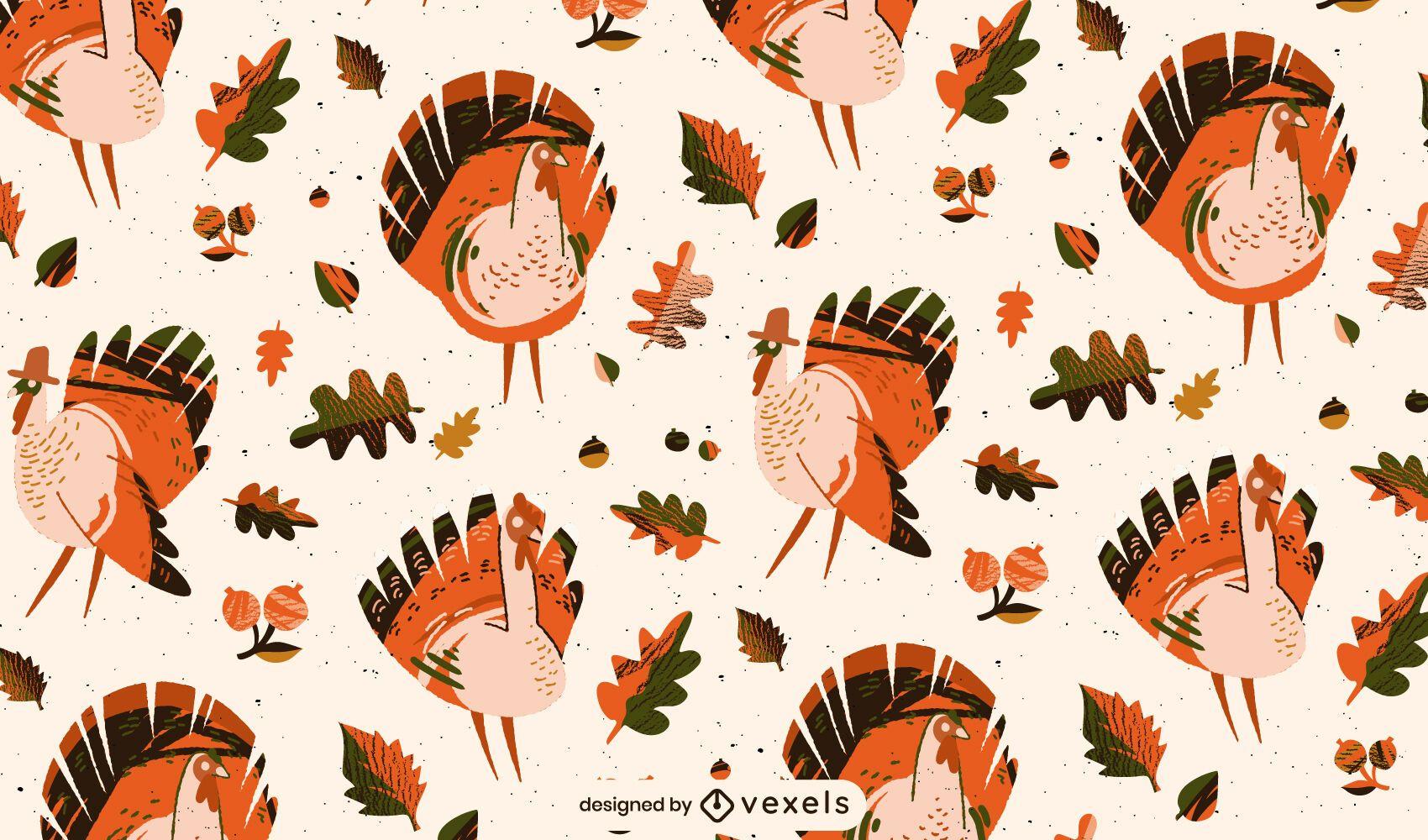 Thanksgiving Turkey Tileable Pattern