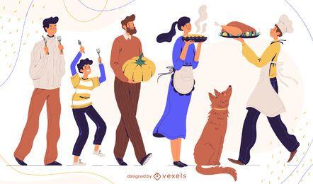 Paquete de personajes para la cena de acción de gracias