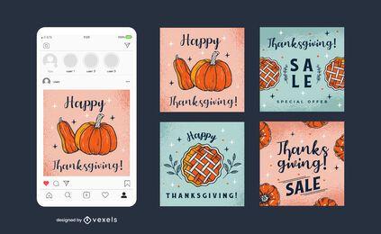 Paquete de Banner Cuadrado Social de Acción de Gracias