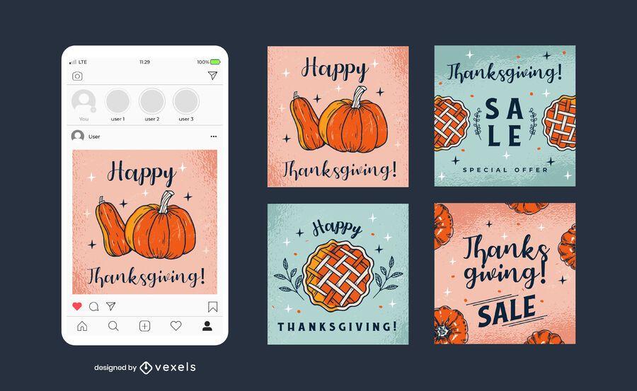 Thanksgiving Social Square Banner Pack
