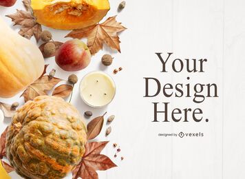 Autumn thanksgiving mockup composition