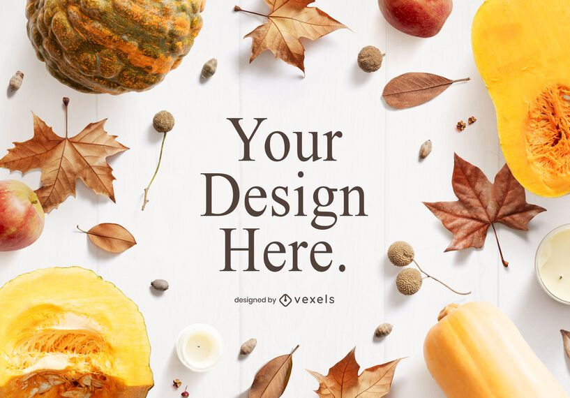 Fall thanksgiving mockup composition