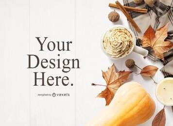 Thanksgiving elements mockup composition