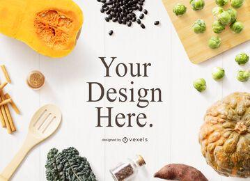 Composición de maquetas de elementos de cocina