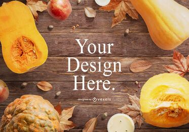 Composición de maquetas de alimentos de otoño