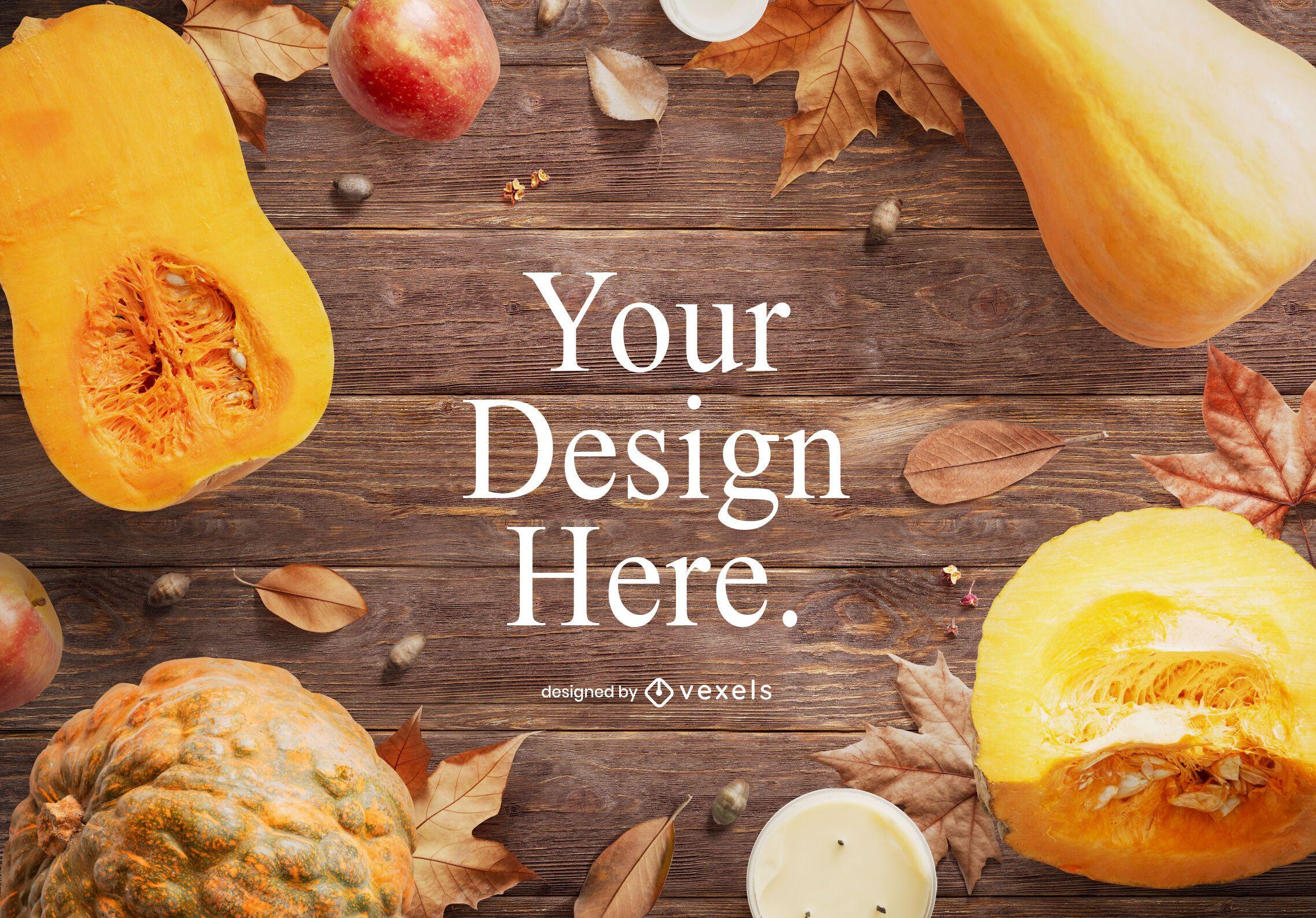 Autumn food mockup composition