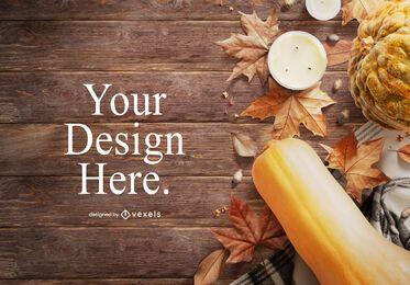 Design de maquete de elementos de outono