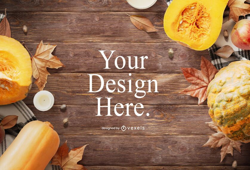 Autumn elements mockup design