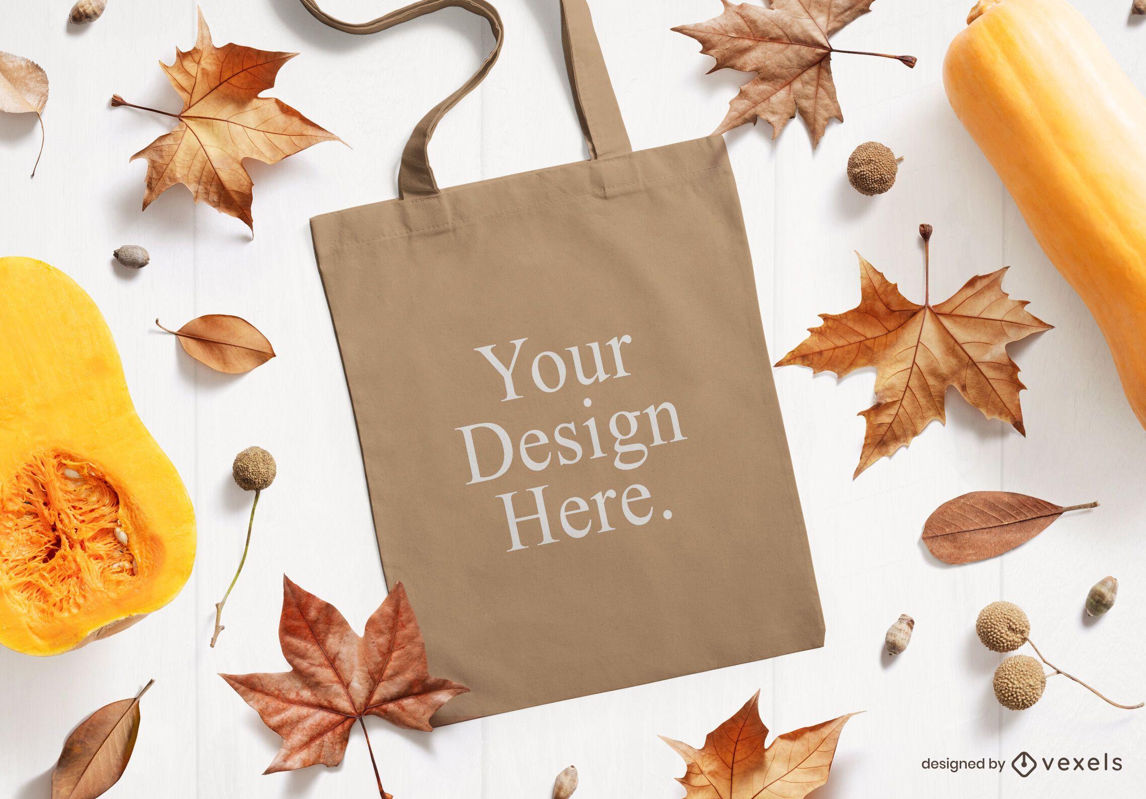 Thanksgiving tote bag mockup composition