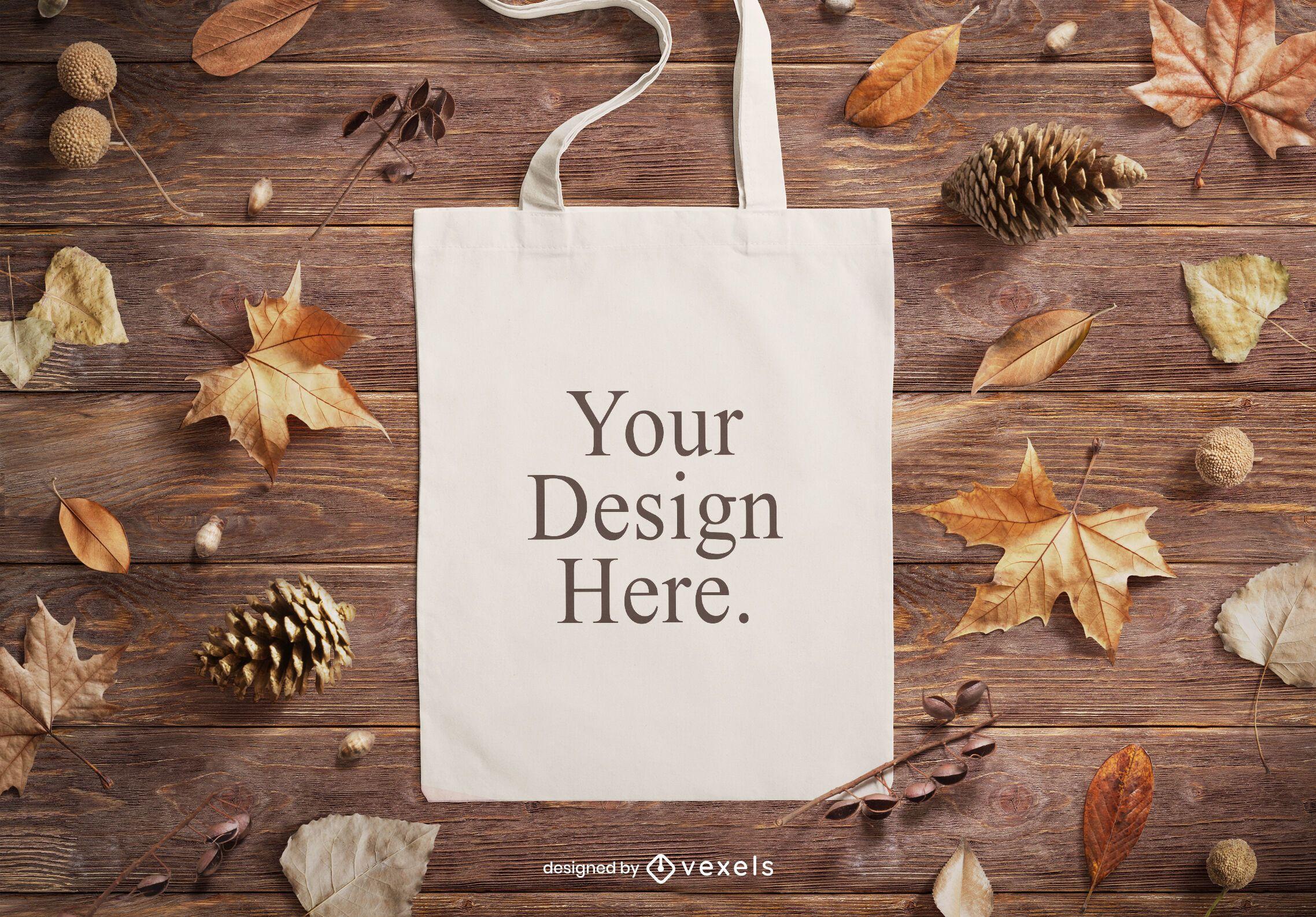 Autumn tote bag mockup composition