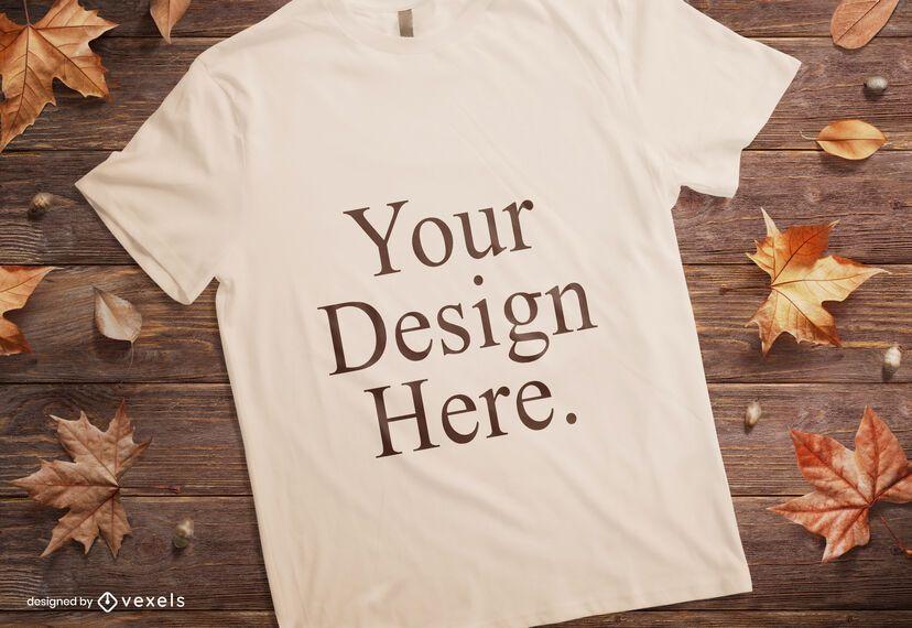 Composição de maquete de t-shirt outono