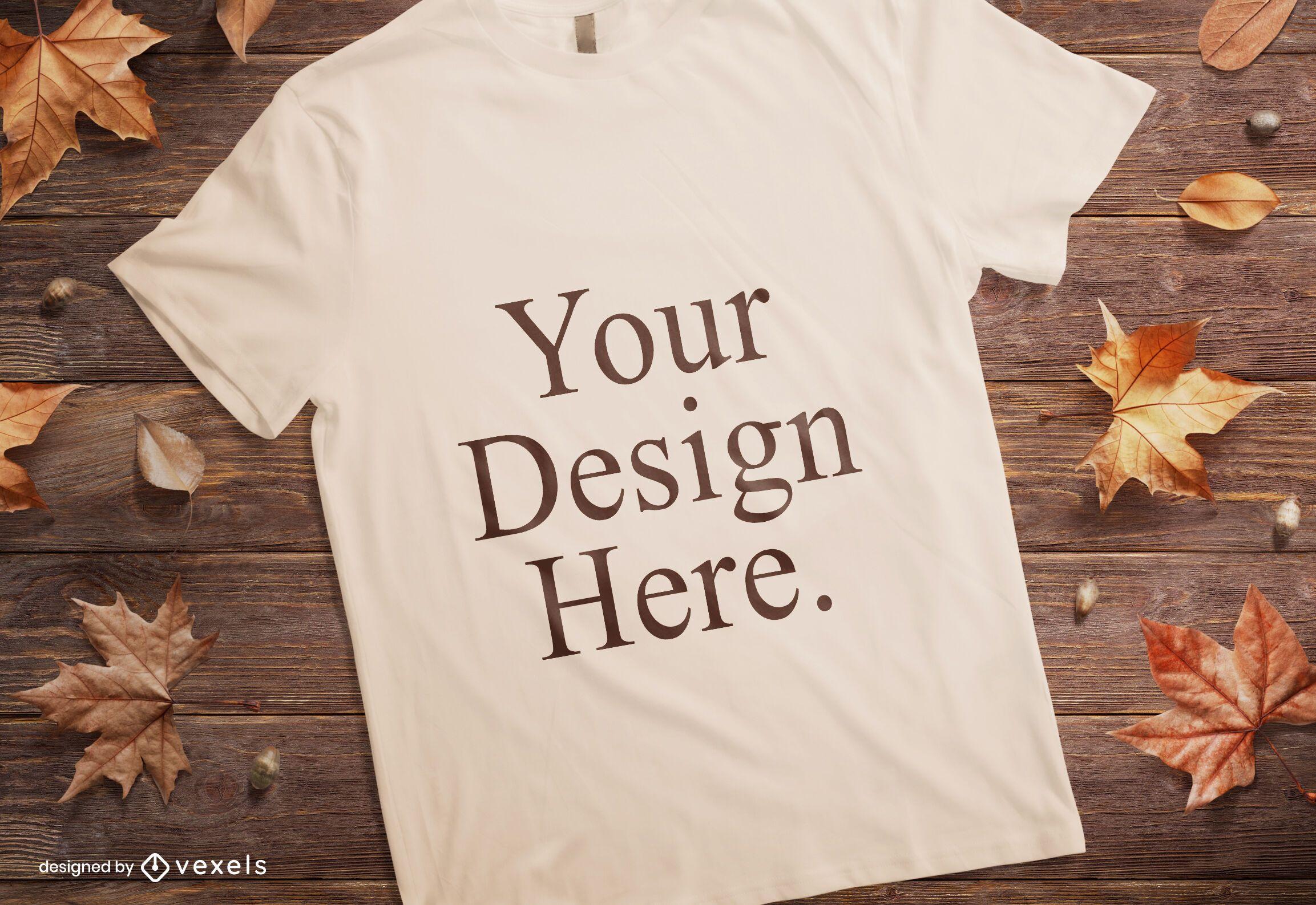 Composição de maquete de camiseta de outono