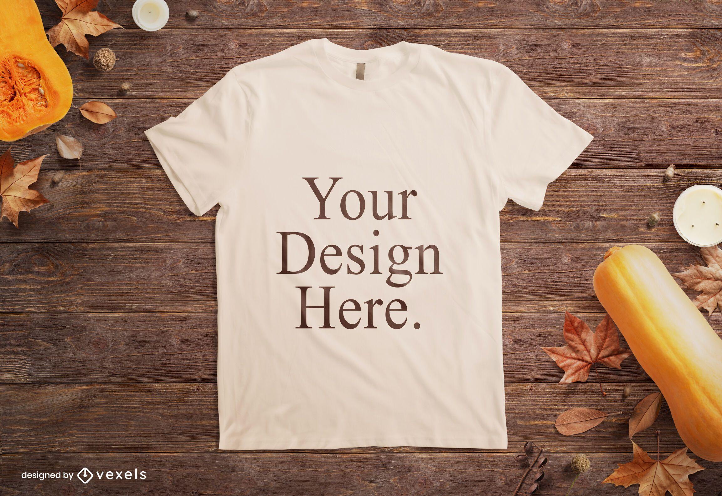 Autumn mockup t-shirt composition