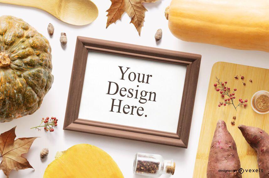 Thanksgiving food frame mockup composition