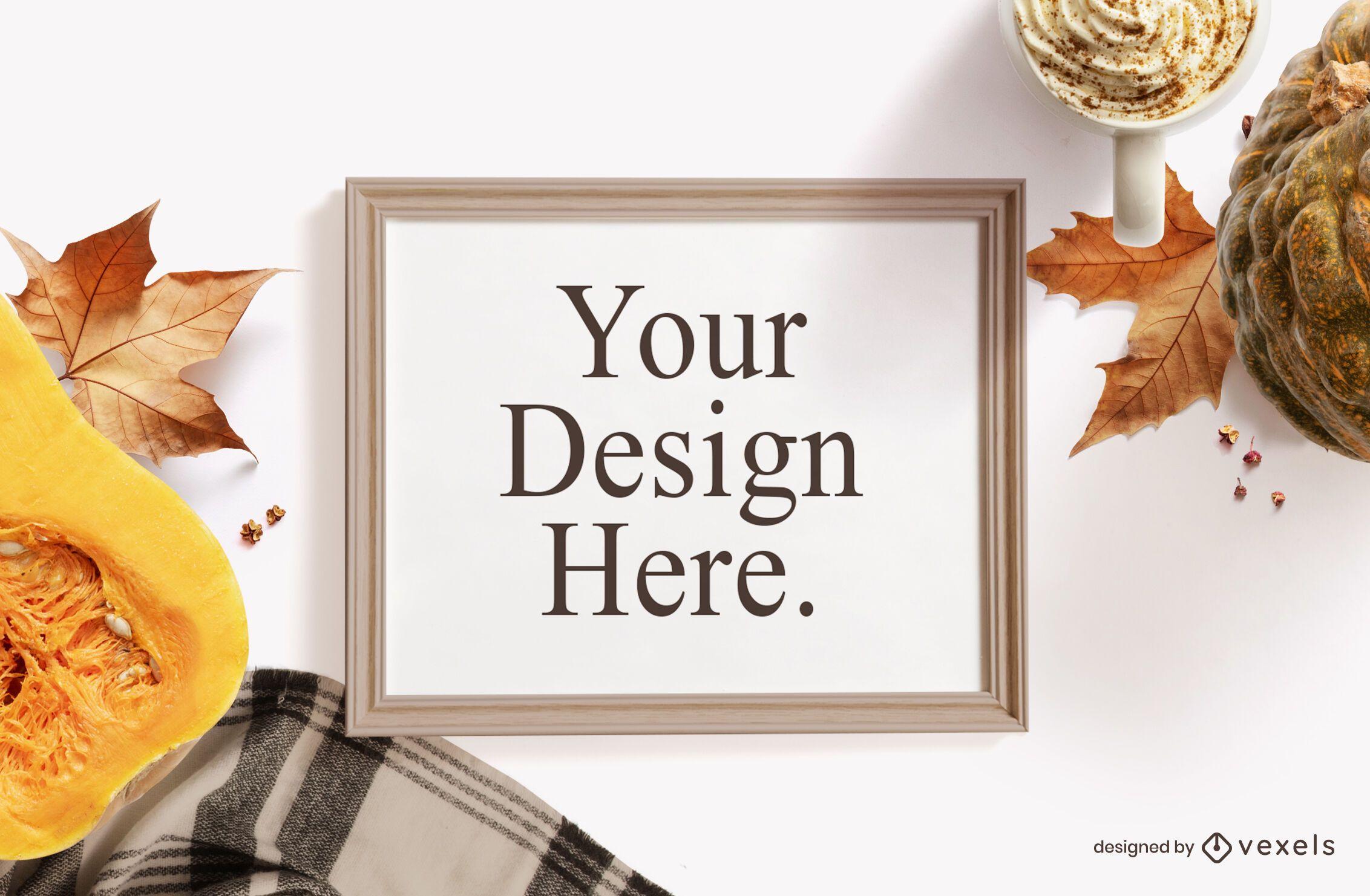Autumn elements frame mockup composition