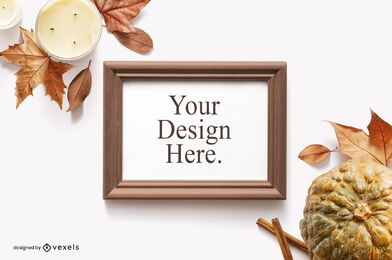 Fall elements frame mockup composition