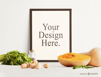 Autumn food frame mockup composition