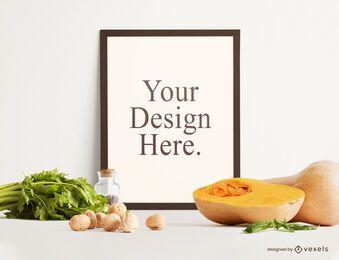 Composición de maqueta de marco de comida de otoño
