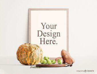 Composição de maquete de cartaz de comida outono