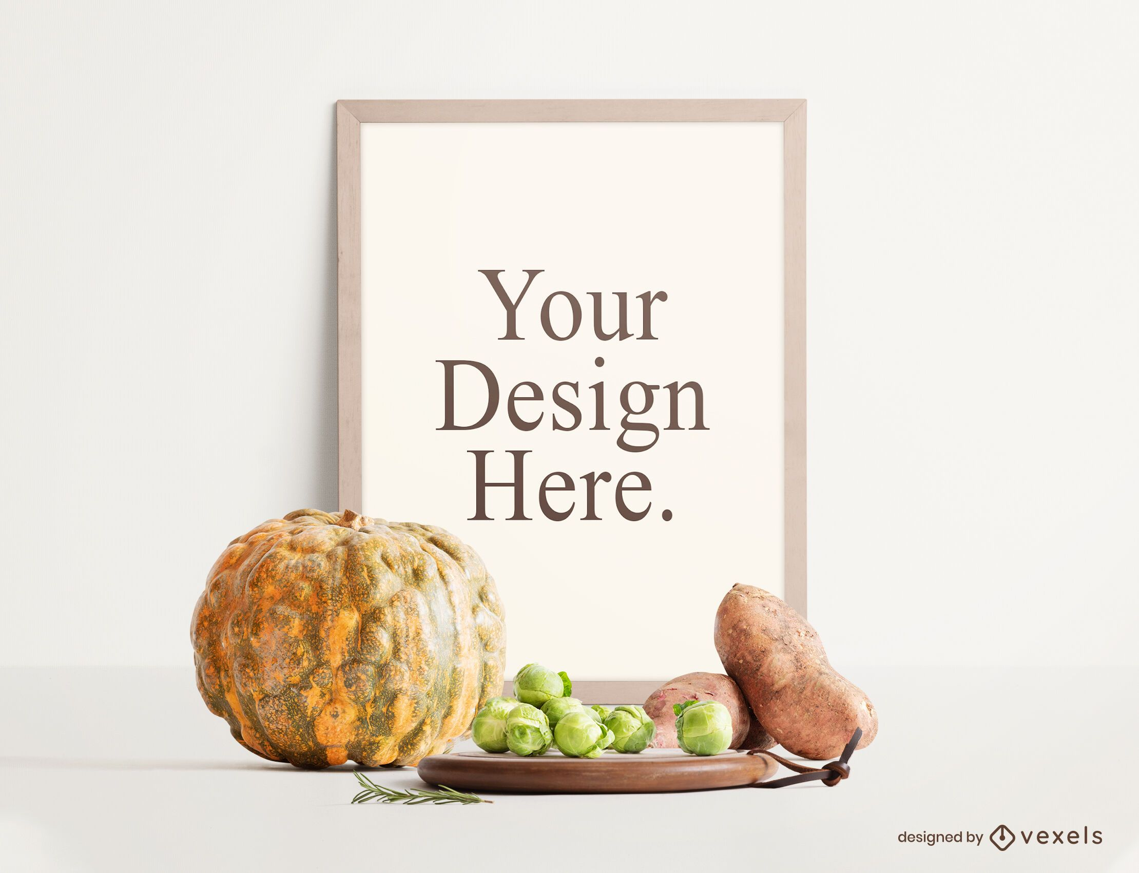 Autumn food poster mockup composition