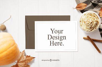 Composição de maquete de cartão de ação de Graças