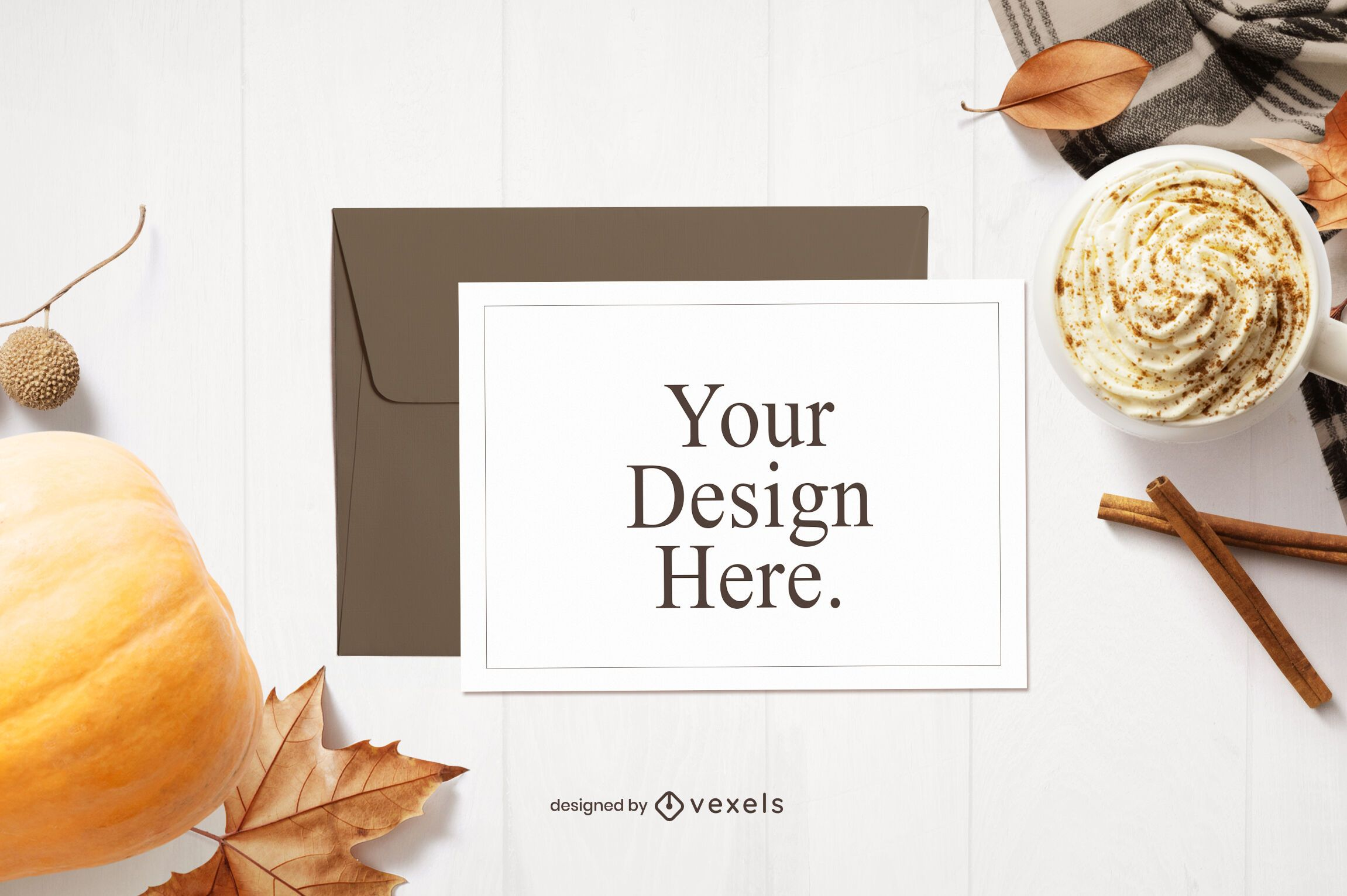 Thanksgiving greeting card mockup composition