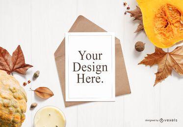 Composición de maqueta de tarjeta de felicitación de otoño