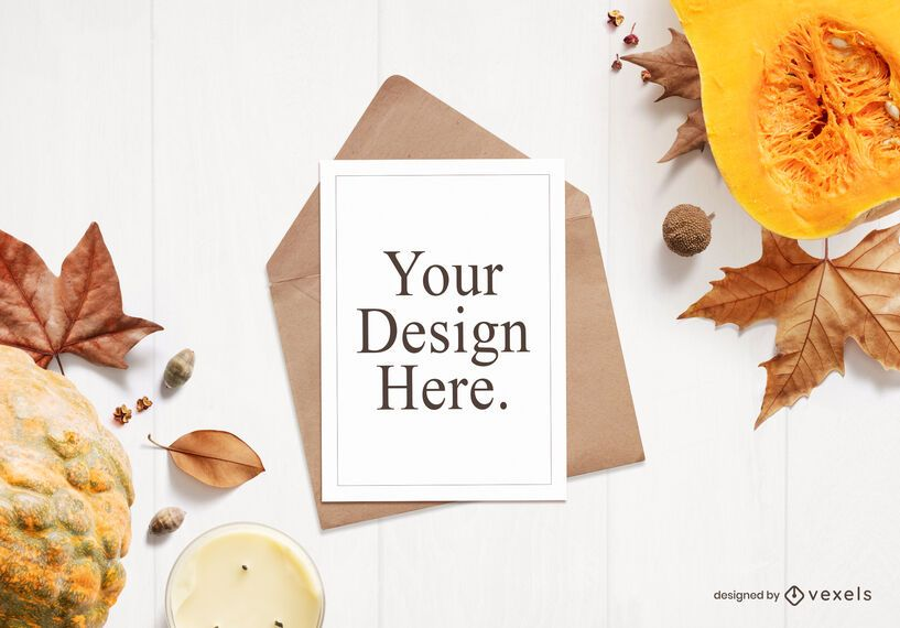 Autumn greeting card mockup composition