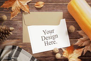 Composição de maquete de cartão de saudação de outono