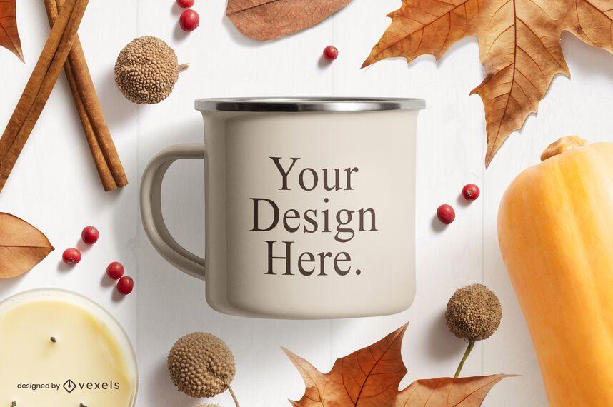 Thanksgiving mug mockup composition