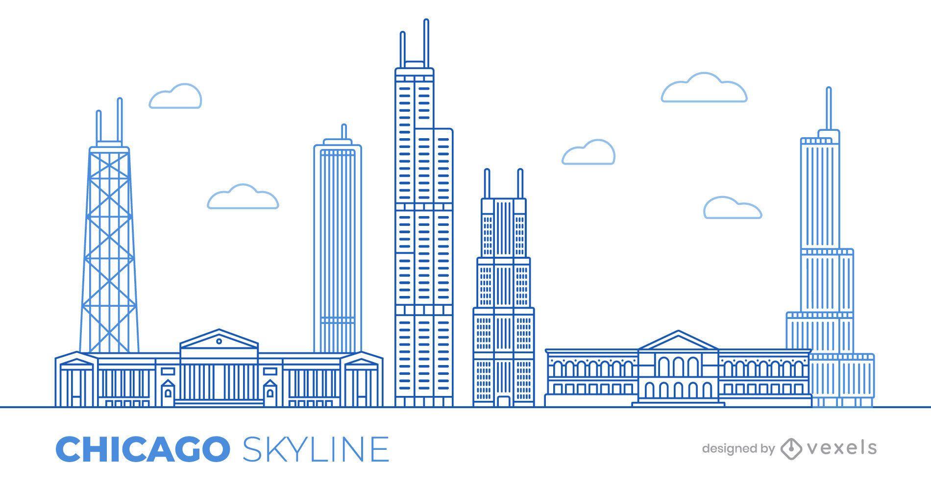 Desenho de ilustração do horizonte de Chicago