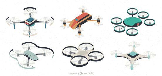Conjunto de ilustración de drones UAV