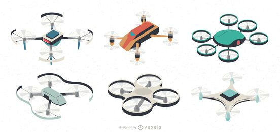 UAV drone illustration set