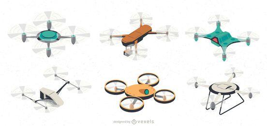 Conjunto de ilustración de UAV Drone