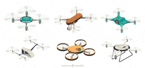 Drone UAV illustration set