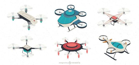 Drone aircraft illustration set