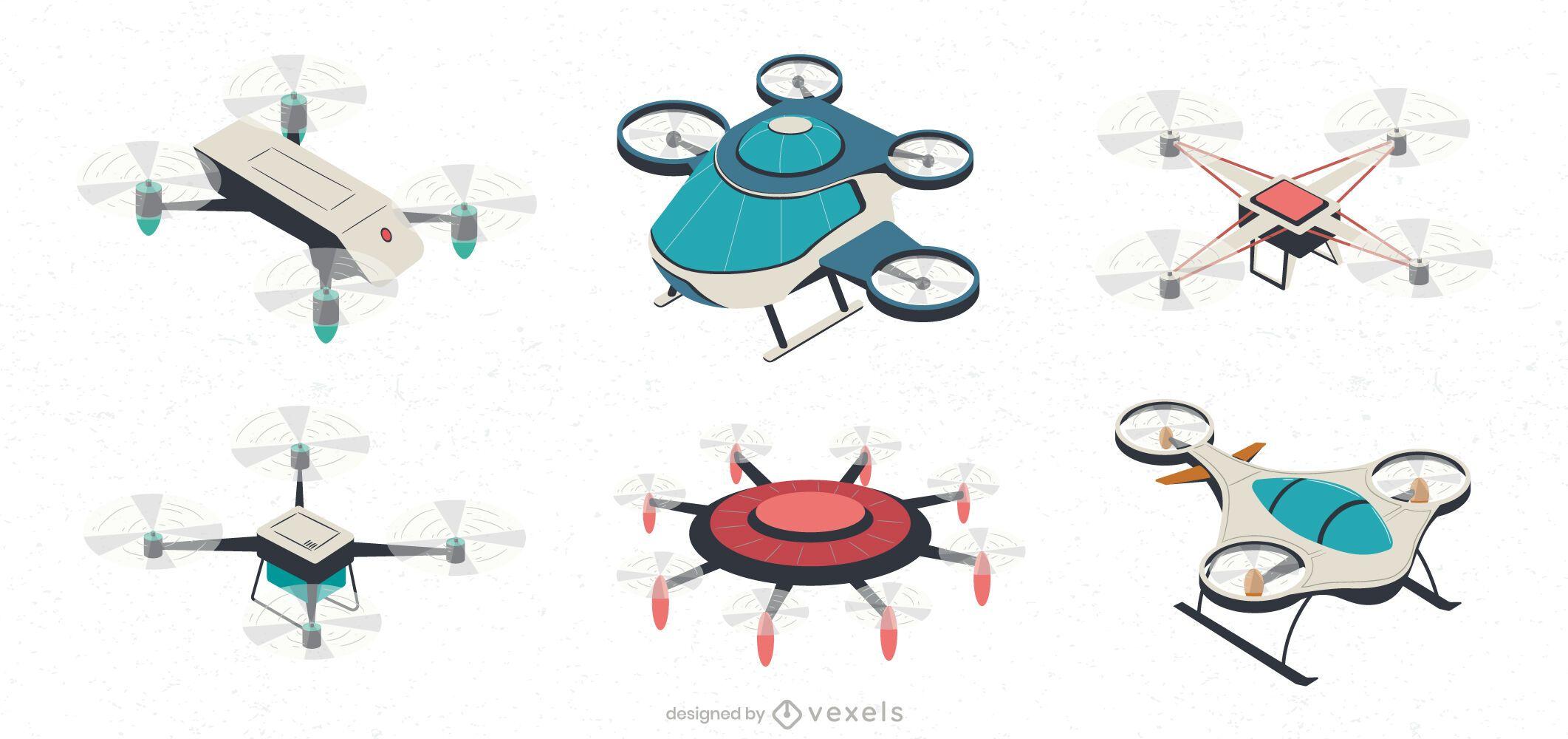Conjunto de ilustración de aviones no tripulados