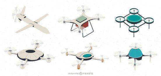 Conjunto de colección de ilustración de drones